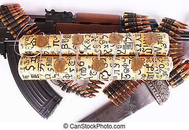AK-47, bandoleer, sword and scroll - A Russian AK-47, a...