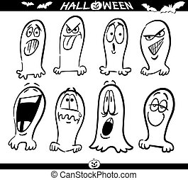 Halloween Ghosts Emoticons for Coloring - Cartoon...