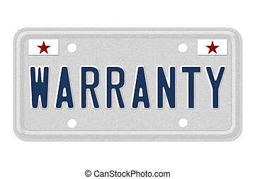 Getting a car warranty - The word Warranty on a gray license...