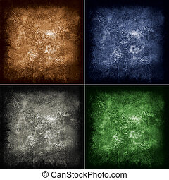 abstract grunge background in four different colors