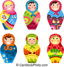 matryoshka set - vector illustration of a matryoshka set