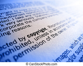 copyright - focus on the word copyright in an agreement or...