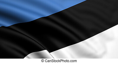 Flag Of Estonia - 3d rendered and waving flag of estonia