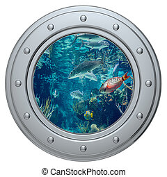 porthole on a white background