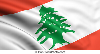 Flag Of Lebanon - 3d rendered and waving flag of lebanon