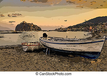 Aragonese castle Ischia island Italy view from beach old...