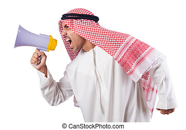 Arab man shouting through loudspeaker