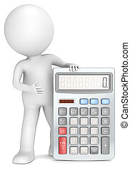 Calculator - 3D little human character with a Calculator