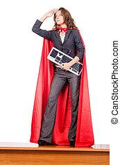mujer de negocios, superwoman, concepto