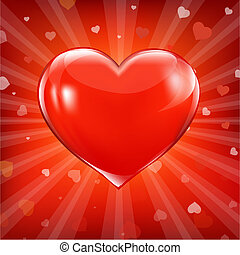 Red Heart And Background With Beams, Vector Illustration