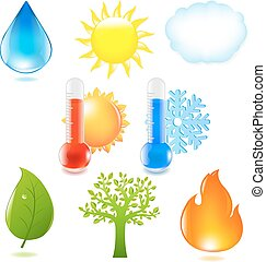 Nature Eco Set, Isolated On White Background, Vector...