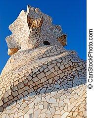 Mosaic by chimney in Casa Mila La Pedrera in Barcelona