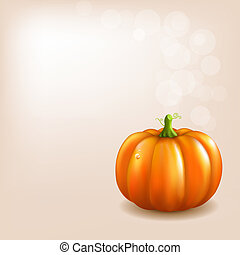 Orange Pumpkin With Bokeh And Blur, Vector Illustration