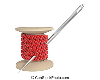 spool of thread with a needle on a white background