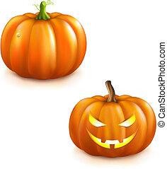 Pumpkin Set For Halloween - 2 Pumpkins For Halloween,...