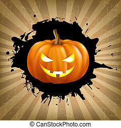 Vintage Helloween Poster With Blob, Vector Illustration