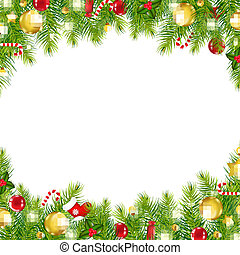 Christmas Vintage Border, Isolated On White Background,...