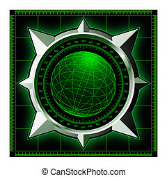 Radar screen with steel compass rose - Radar screen. Digital...