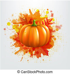 Grunge Background With Orange Pumpkin And Leaves