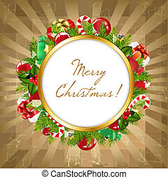 Merry Christmas Frame With Vintage Background