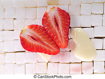 Sugar background with strawberry 2 - White sugar cubes...