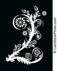 vector illustration of the number two made with floral ornament on black background