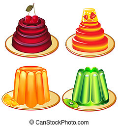 a set of desserts of jelly on plates - illustration a set of...