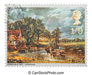 The Hay Wain - Mail stamp printed in the UK featuring the...