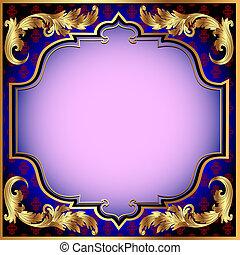 scuro, blu, fondo, oro, vegetative, Ornamento