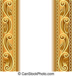 a gold background with a strip with a gold vegetative...