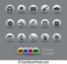 Education Icons Pearly Series - The eps file includes 5...