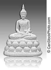 White Buddha - Buddha image in white on a gray background