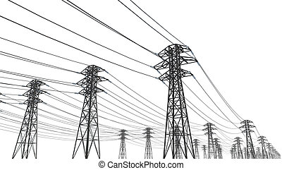 power line on a white background