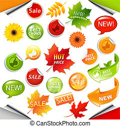 Autumn Collection Sale Elements With Leaves, Vector...