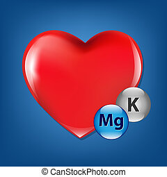 Red Heart And Vitamins, Isolated On Blue Background, Vector...