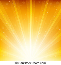 Colden Background With Sunburst And Stars