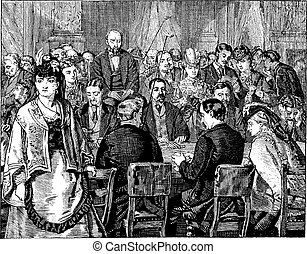 Group in the Salon D'or, Engraving