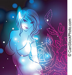 Abstract color glowing background with girl - Vector...