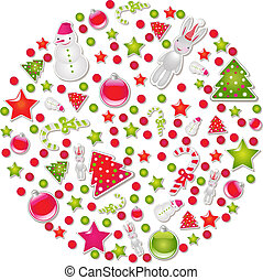 Ball Of Christmas With Symbols And Element, Vector...