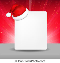Blank Paper With Santa Hat And Sunburst, Vector Illustration