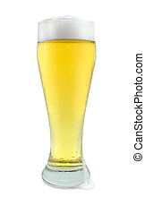 Tall Glass of Beer on White - Tall Glass of Beer with Drip...