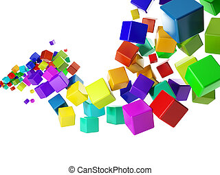 3d illustration: abstract idea Group of colorful cubes...