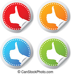 Vector thumb up stickers set - Thumb up stickers set, vector...