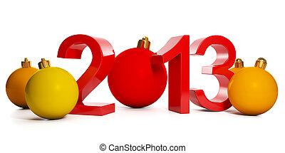 3d illustration: New Year and Christmas. In 2013 and a group...