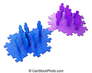 3d Illustration: Business ideas. Business cooperation, to find the right compromise idea