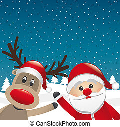 reindeer and santa claus wave winter landscape