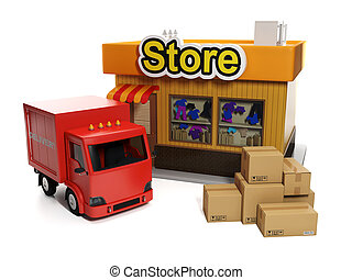 3d illustration: Sale and purchase. Shop and cardboard boxes...