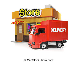 3d illustration: Shop and delivery. Free delivery from store