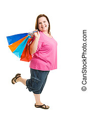 Shopping Excitement - Happy enthusiastic plus sized woman on...