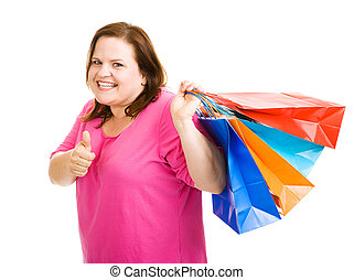 Happy Shopper Thumbsup - Pretty plus sized shopper holding...
